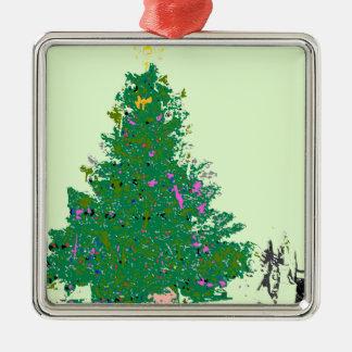 Mom's Christmas tree with bulbs on green XMAS20 Metal Ornament