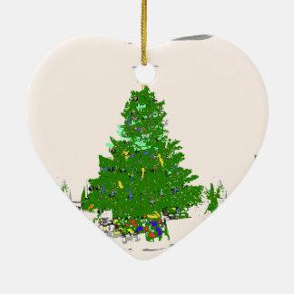 Mom's Christmas tree with bulbs on pink XMAS19 Ceramic Ornament