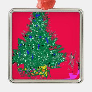Mom's Christmas tree with bulbs on red XMAS20 Metal Ornament