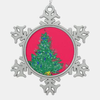Mom's Christmas tree with bulbs on red XMAS20 Snowflake Pewter Christmas Ornament