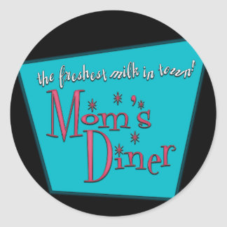 Mom s Diner Retro Pro-Breastfeeding Design Round Sticker