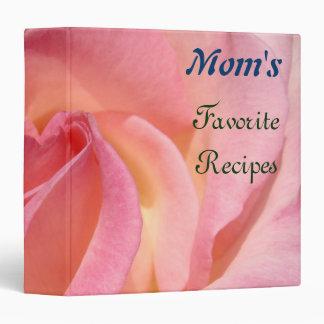 Mom s Favorite Recipes binders Pink Rose Flowers