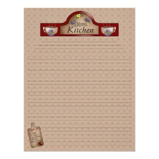 Mom s Kitchen Recipe Pages Lined Custom Letterhead