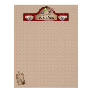 Mom s Kitchen Recipe Pages Un-Lined Letterhead Template