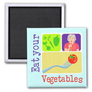 Mom Says, Eat Your Vegetables 2 Inch Square Magnet