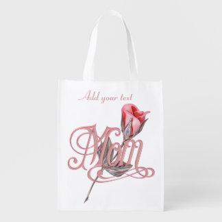 Mom Script and Rose Designer Grocery Bag