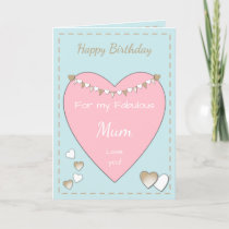 Mom Shabby Chic pink Birthday Card