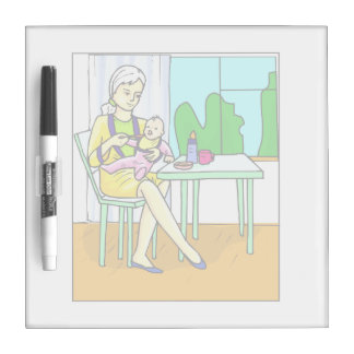 Mom sitting at table feeding baby graphic Dry-Erase whiteboards