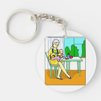 Mom sitting at table feeding baby graphic keychain