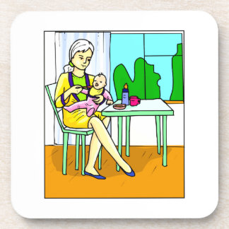 Mom sitting at table feeding baby graphic.png drink coaster