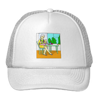 Mom sitting at table feeding baby graphic.png trucker hat