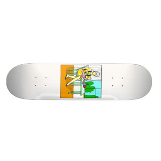 Mom sitting at table feeding baby graphic.png skateboard deck