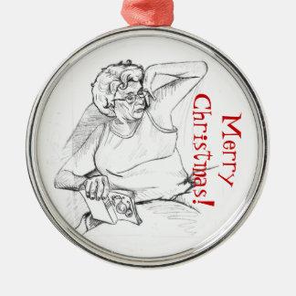 Mom Snoozing Metal Ornament