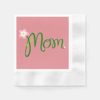 Mom Strawberry Pink Coined Cocktail Napkin