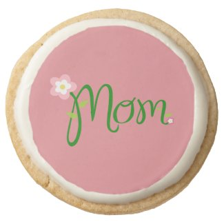 Mom Strawberry Pink Round Shortbread Cookie