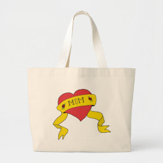 Mom Tattoo Heart Large Tote Bag