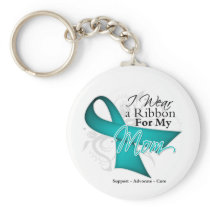 Mom - Teal Ribbon Awareness Keychain