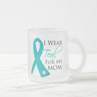 Mom - Teal Ribbon Ovarian Cancer 10 Oz Frosted Glass Coffee Mug