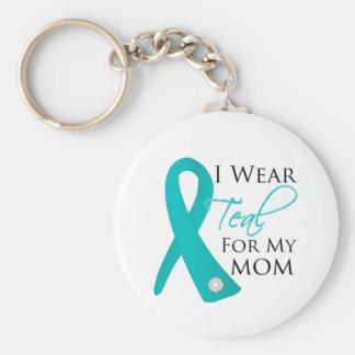 Mom - Teal Ribbon Ovarian Cancer Basic Round Button Keychain