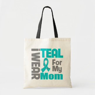 Mom - Teal Ribbon Ovarian Cancer Support Budget Tote Bag
