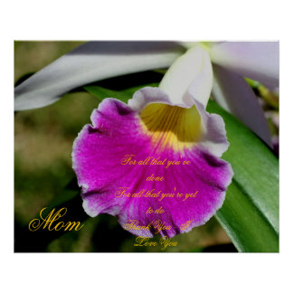 Mom Thank You Love You Orchid Flower Poster Print