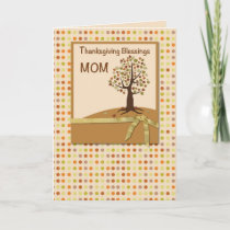 MOM, Thanksgiving Blessings, Polka Dots Holiday Card