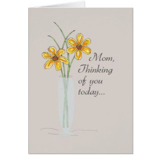 Mom, Thinking of You Two Flowers Vase Card