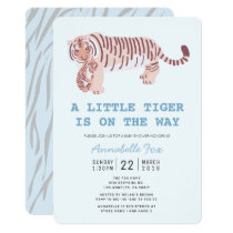 Mom Tiger Carry Cub Blue Baby Shower Invitation