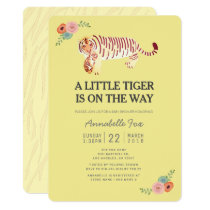 Mom Tiger Carry Cub Yellow Baby Shower Invitation