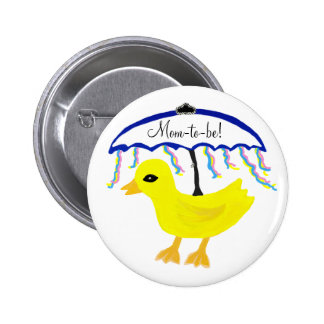 Mom-to-be Baby Ducky Umbrella Shower Button Pinback Buttons