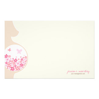 Mom To Be | Baby Girl Thank You Note Stationery