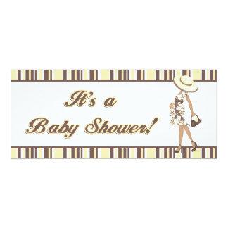 Mom-to-Be (dark skin) Yellow & Brown Baby Shower Card