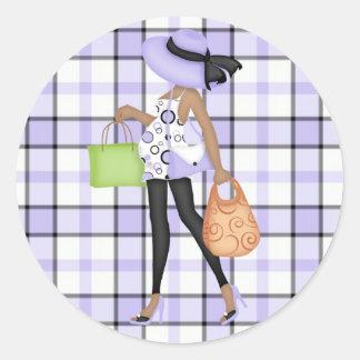 Mom to Be (darker skin) with Purple & Black Plaid Classic Round Sticker