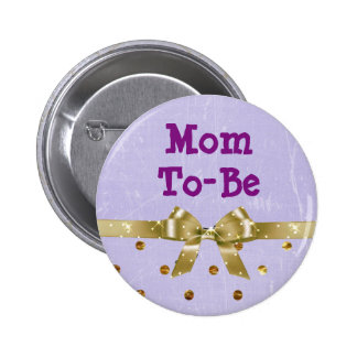Mom-To-Be Lavender and Gold Baby Shower Button