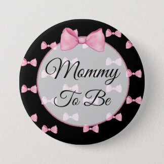 Mom to be Pink Bow Baby Shower Button Black