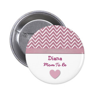 Mom To Be Pink Chevron Print Heart A01 Pinback Button