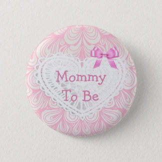 Mom to be pink Lace Heart baby shower button