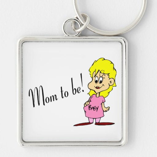 Mom To Be (Pregnant Woman) Silver-Colored Square Keychain