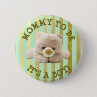 "Mom to be ""Teddy Bear"" Geen Baby Shower Button"