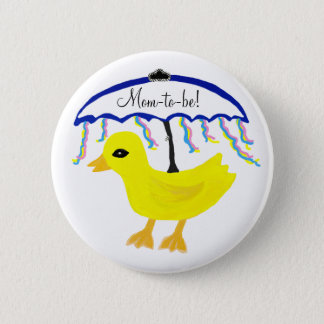 Mom-to-be Yellow Ducky Umbrella Shower Button