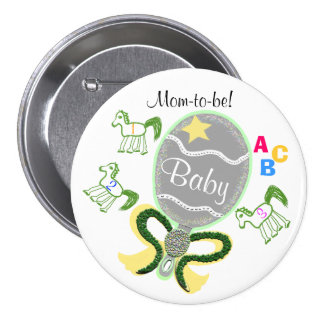 Mom-To-Be Yellow Star Horses Rattle Baby Shower Pin