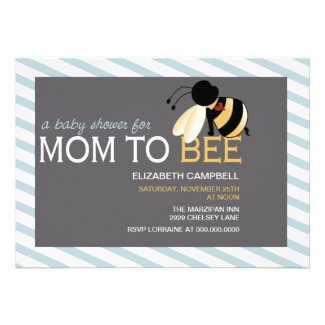 Mom-to-BEE Baby Shower Invitation - artic blue