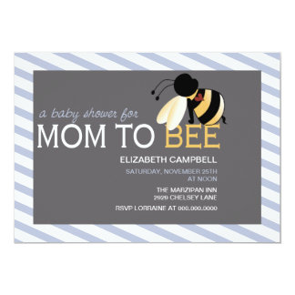 Mom-to-BEE Baby Shower Invitation - faded saphire