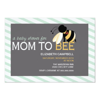 Mom-to-BEE Baby Shower Invitation - spring green