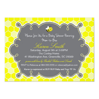 "Mom to Bee, Honey Hive Baby Shower Invitation 5"" X 7"" Invitation Card"