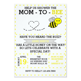 Mom-to-bee 5x7 Paper Invitation Card