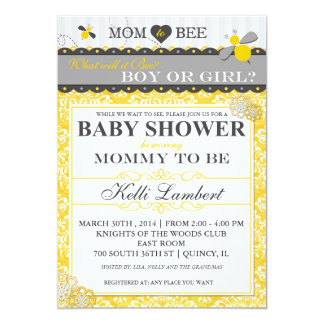 Mom to Bee Whimsical Bee Baby Shower Card
