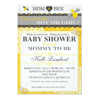 Mom to Bee Whimsical Bee Baby Shower 5x7 Paper Invitation Card