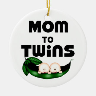 Mom to Twins (Peapod) Double-Sided Ceramic Round Christmas Ornament