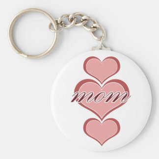 Mom Triple Heart Basic Round Button Keychain